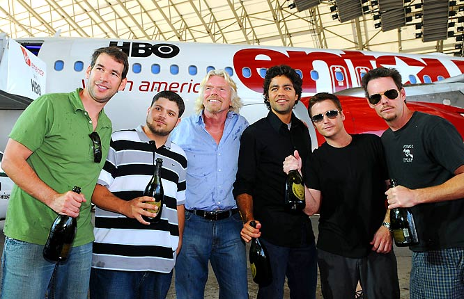 You know your show has made it big when they rename a plane after you. Before the season premiere of <i>Entourage</i> on Sunday, Virgin America launched Entourage Air, the airline's first flight from New York to Las Vegas. While Vince and the boys were there to send off the plane, they left it up to a recent (and gold medal winning) member of the crew to pick up the action in Sin City.
