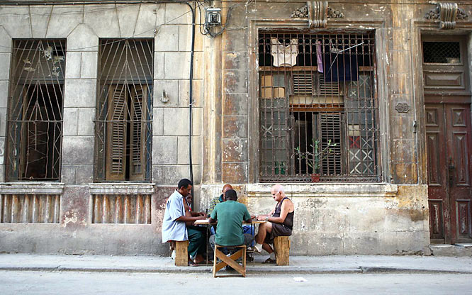 Games of dominoes are taking place everywhere in Old Havana.