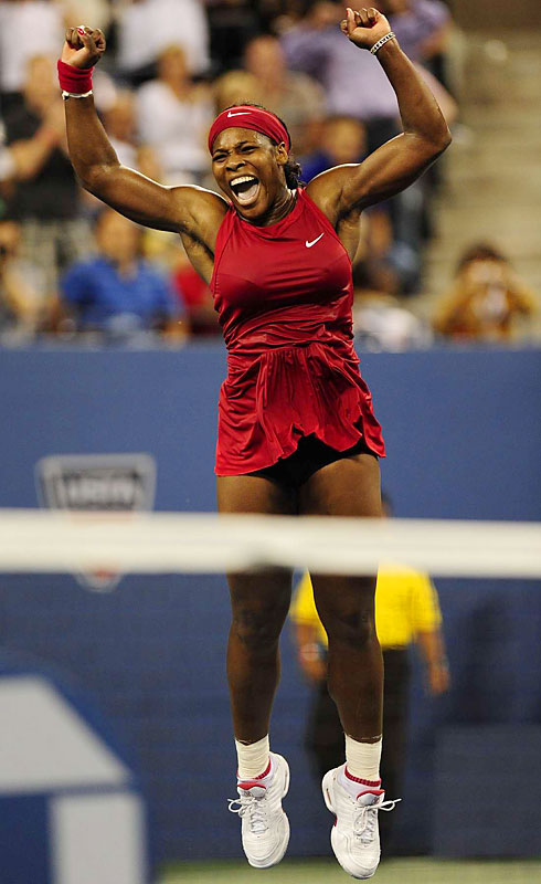 Serena Williams flung her racket straight up and jumped for joy, hopping and skipping and screaming and generally looking like someone who had just won her first U.S. Open title or earned her debut at No. 1.