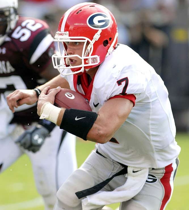 Matthew Stafford's 30-yard QB sneak in the third quarter gave the Dawgs, trailing 7-6 at the time, a much-needed boost. One play later, Knowshon Moreno scored the game-winning touchdown.