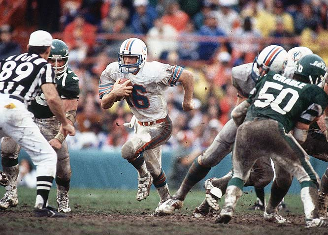 Before the AFC Title Game, the Dolphins decided to leave their field uncovered during a Miami rainstorm. The tough conditions helped them limit Jets quarterback Richard Todd to 103 yards on 15-37 passing. They also intercepted five of his passes en route to a 14-0 win.