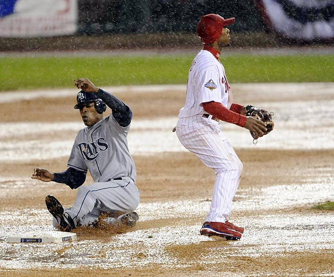 The Phillies were up by two runs when the rain started falling in the fourth inning. Amid gale-force winds and a downpour, the teams played on for another inning-and-a-half until the field and the players couldn't take it anymore. It was the first World Series game ever suspended due to weather.