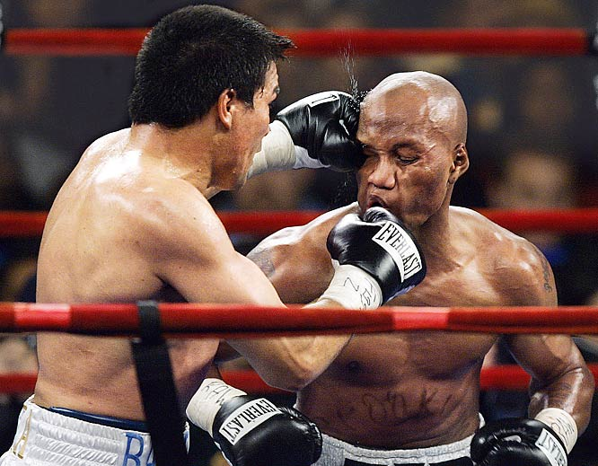 Zab Judah (facing) had his status atop the WBC welterweight division locked. That is, until he met Carlos Baldomir at Madison Square Garden. In a mandatory challenge of Judah's title, Baldomir threw a string of right hands to earn a unanimous decision and grab Judah's belt.