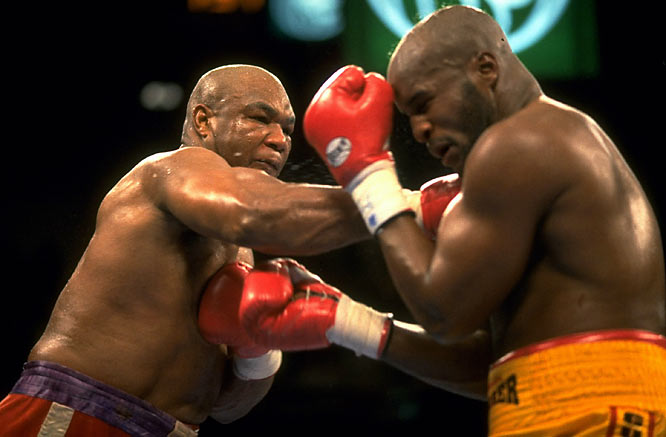 After spending 10 years away from the ring, Foreman returned with his eye on Moorer's IBF and WBO heavyweight titles. Donning the same trunks he wore when he lost his title to Muhammad Ali 20 years before, Foreman used a devastating right to split Moorer's lip and send him to the canvas, where the ref counted him out. Foreman got his title back.