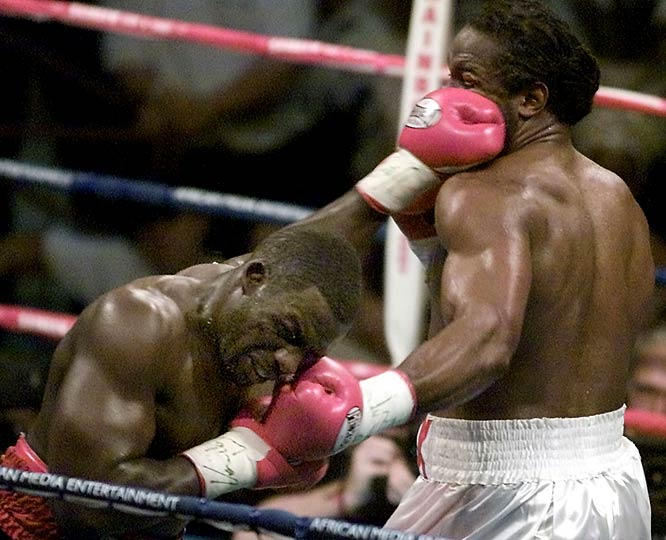 Though Rahman (far left) entered the heavyweight-title bout off three straight wins, he was still a 20-to-1 underdog against Lewis. But Rahman needed only five rounds and one nasty punch to knock out the champ. The loss was just the second of Lewis' career.