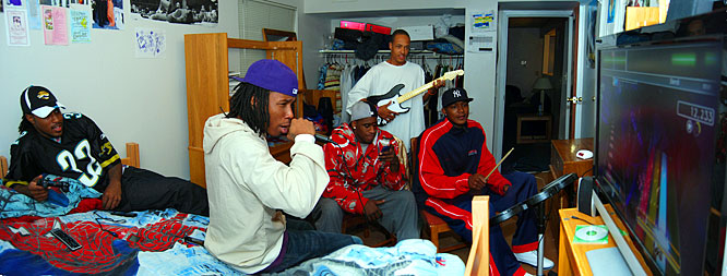 With a flat screen TV and surround sound, Warren's room frequently plays host to Rock Band gatherings. It's one of the team's favorite video games, although Warren says they've cut back quite a bit since the summer.