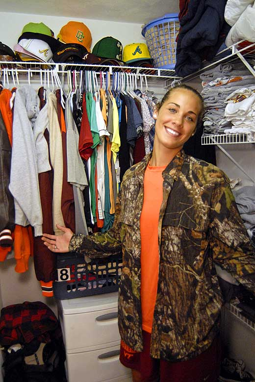 Hall shows off her tidy closet, which is chock-full of 'ballin hats, clothes and shoes. Hall is considered the neatest housemate.