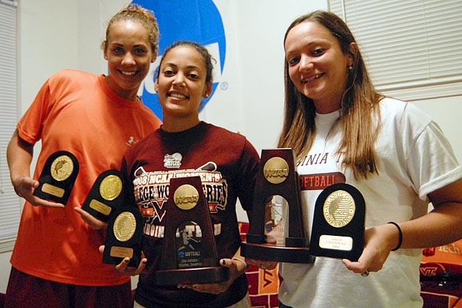 The proud Hokies show off their 2007 and 2008 ACC Championship and 2008 NCAA Regional Championship hardware.