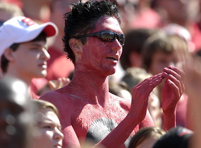 This fan couldn't paint over his eyes, so he sported some shades.