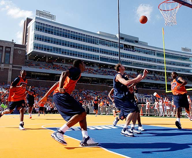 Illinois forewent a conventional Midnight Madness to put on what the Illini claim was the largest outdoor practice on a portable court at Memorial Stadium.  This could be the last season that Bruce Weber's squad can do that -- the NCAA is reportedly expected to ban such events after coaches at other schools complained.