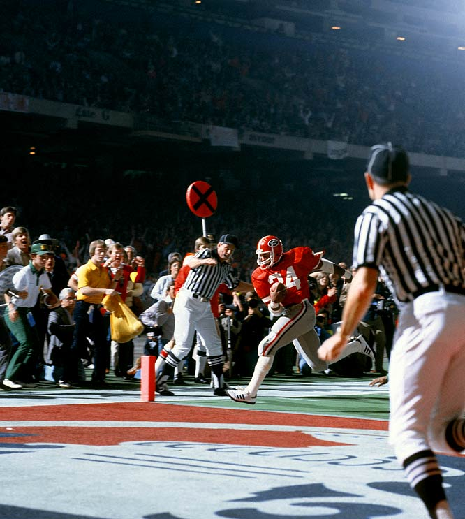 Herschel Walker scores his second touchdown of the game to give Georgia a 17-10 win over Notre Dame in the Sugar Bowl and the 1980 national title.  Two years later, the Georgia running back would win the Heisman Trophy.