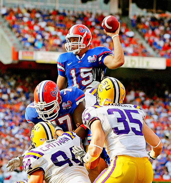 Tim Tebow flipped his signature pass against LSU, leading the Gators to a national title as a freshman.  The next year LSU would get its due, but Tebow earned a Heisman -- the first underclassman to ever do so.