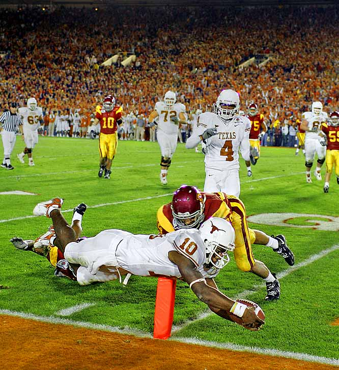 In a game where the oddsmakers heavily favored Matt Leinart and Reggie Bush's USC Trojans to win the 2006 national title, Vince Young led Texas to a come-from-behind victory to hand Pete Carroll his first loss since September 27, 2003.