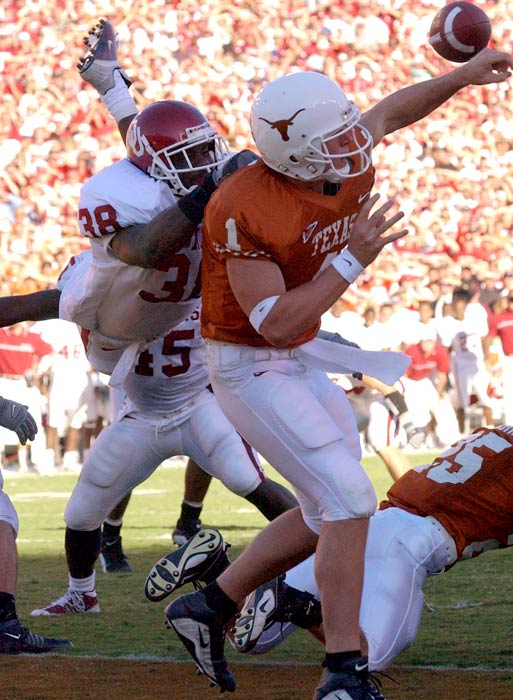 Oklahoma forced four interceptions by Texas quarterback Chris Simms. The last interception came with 2:01 remaining in the fourth quarter when Sooners safety Roy Williams hit Simms as he released the ball. Linebacker Teddy Lehman picked off the fluttering pass and walked into the end zone, sealing a 14-3 Oklahoma victory.