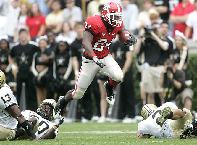 Bulldogs running back Knowshon Moreno (24) finished with 172 yards, his highest total of the season and the third highest of his career.