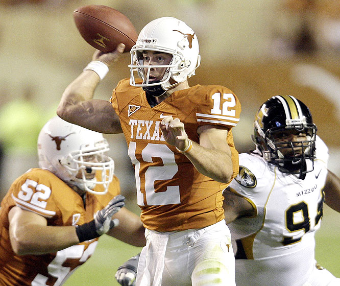 Colt McCoy was 29-of-32 passing for 337 yards and a touchdown and ran 11 times for 23 yards and two more scores as the Longhorns won a week after earning their first regular-season No. 1 ranking since 1984.