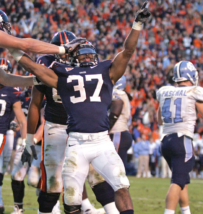 Cedric Peerman (37) scored from two yards out as the Cavaliers denied the Tar Heels their first victory at Virginia since Nov. 14, 1981.