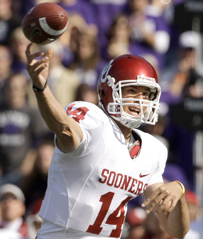 Sam Bradford was 13-for-32 for 255 yards and three scores in the Sooners' win. The 40 percent completion percentage was the lowest of his Oklahoma career.