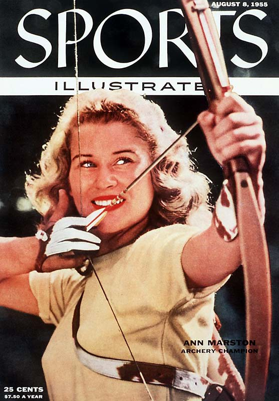 Archery may never be a mainstream sport, but in 1955, a 15-year-old named Ann Marston led a short revival of the sport. This cover shows Marston, who would later become Miss Michigan and a runner up for Miss America, about to take aim.