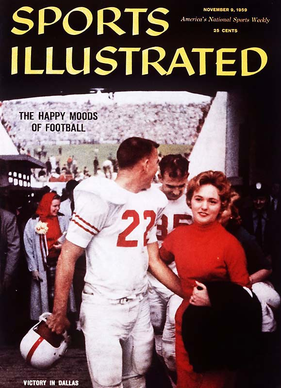 In the '50s, the photographers at Sports Illustrated seemed less focused on getting the faces of the athletes in their shots, and more focused on getting players' wives in the frame. Here, Texas quarterback Bobby Lackey and his wife, Judy, walk off the field together.