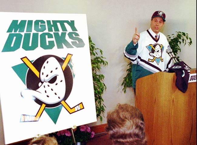 The Walt Disney owned Anaheim Mighty Ducks play their first NHL game, a 4-3 victory over Edmonton.
