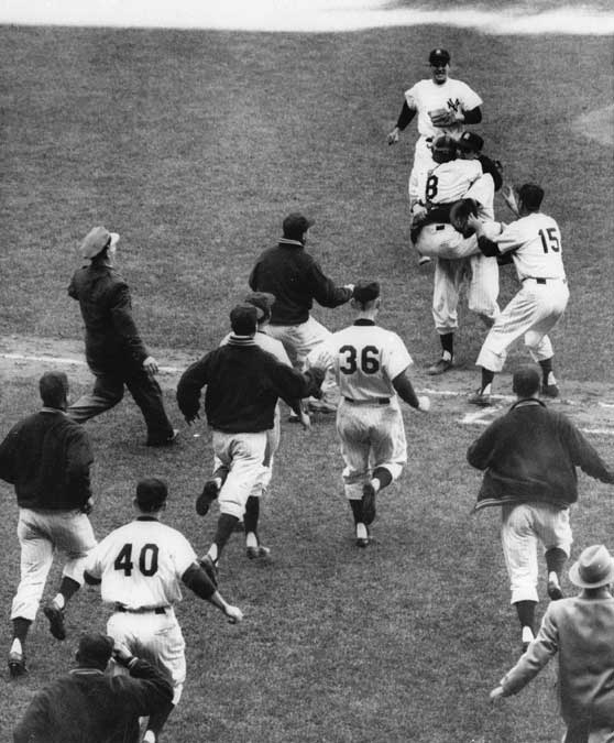 Yankees ace Don Larsen pitches the first perfect game in World Series history, shutting out the Brooklyn Dodgers by a score of 2-0.