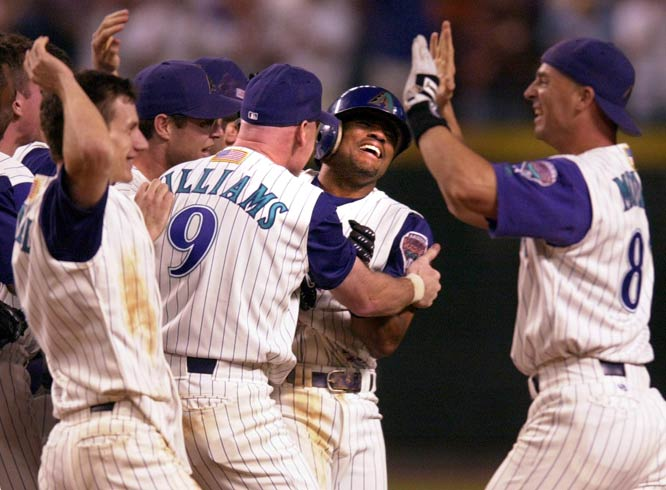 The Diamondbacks beat the Cardinals, 2-1, on Tony Womack's two-out game-winning hit in the deciding fifth game of the NLDS. Arizona would defeat the New York Yankees a week later to claim its first championship.