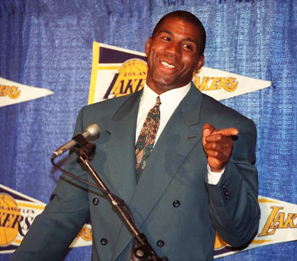 Magic Johnson plays his first professional game since coming out of retirement.