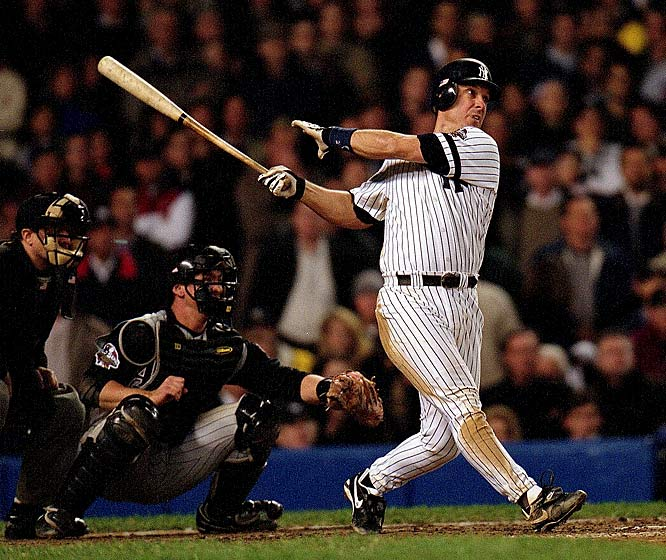 In Game 4 of the 2001 World Series,  Tino Martinez sends the game into overtime with a two-out homer off Diamondbacks' closer Byung-Hyun Kim and Derek Jeter, dubbed Mr. November, wins it after the stroke of midnight with a full count two-out round tripper giving the Bronx Bombers a 3-2 victory and knots the series at two games apiece.