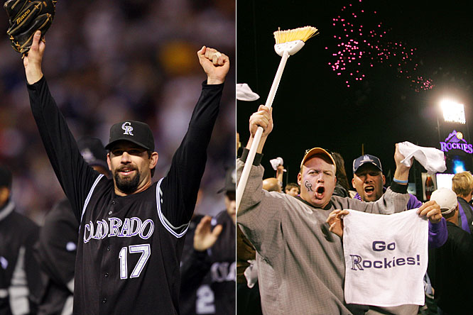 With their 17th win in 18 games, the Rockies beat the Phillies at Coors Field, 2-1, completing a NLDS three-game sweep of Philadelphia to advance to their first-ever National League Championship Series.