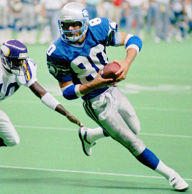 Seattle wide receiver Steve Largent catches a pass in his 128th straight game, breaking the NFL record for most consecutive games with a reception.