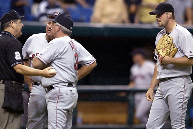 "With the umpires on notice from MLB about the simmering tension between the clubs, Sox pitcher Derek Lowe and manager Grady Little were ejected after Lowe hit Felix Escalona during the first game. Rays pitcher Lee Gardner and manager Hal McRae were tossed the next night after Gardner plunked Lou Merloni. Umpire Jerry Crawford said: ""[MLB] feels it is one of the more serious situations going on in the game today."""