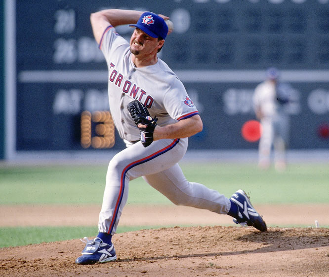 Clemens won the first of back-to-back Cy Youngs with the Blue Jays in 1997, winning the pitching Triple Crown by leading the league in wins (21), ERA (2.05) and strikeouts (292).