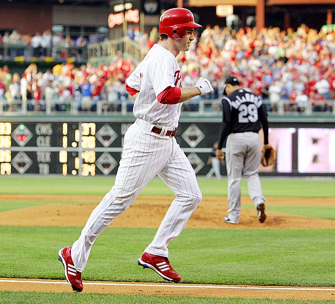 Chase Utley's career-high six RBIs helped power the Phillies to a 20-5 thumping of the Rockies, who eliminated Philly from the NLDS the previous season.