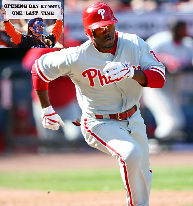The Phils spoiled the final home opener at Shea Stadium, rallying from a 2-0 deficit through six innings for a 5-2 triumph. It marked the team's ninth consecutive win over the Mets dating back to 2007, but victory came at a cost: Jimmy Rollins left the game and would miss nearly one month with a left ankle sprain.