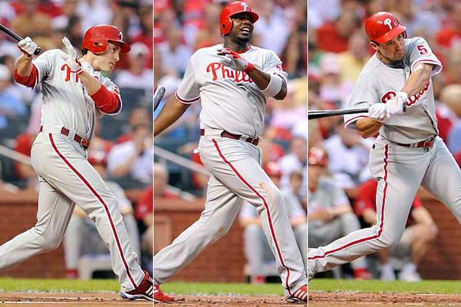 Chase Utley, Ryan Howard and Pat Burrell slammed back-to-back-to-back home runs in the first inning as the Phils won a laugher over the Cardinals.