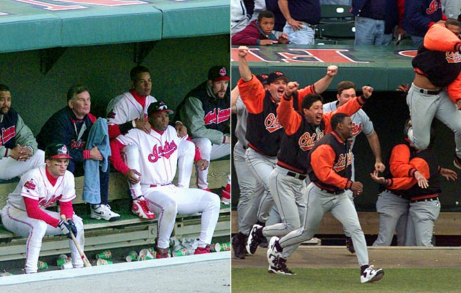 The wild-card Orioles were big underdogs against the defending AL champion Indians and their power-packed lineup. But Baltimore won the first two games in its ballpark, and Roberto Alomar's 12th-inning homer in Game 4 knocked out Cleveland, which eventually won six AL Central titles between 1995 and 2001 but never the World Series.