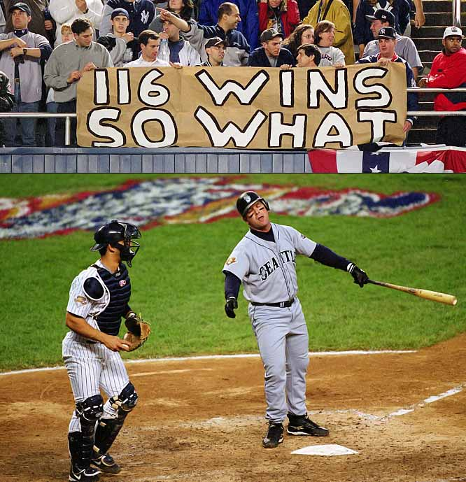 The three-time defending world champion Yankees were hardly intimidated by the Mariners record-tying 116-win squad that featured Edgar Martinez, Brett Boone and Ichiro Suzuki. The Yankees won the first two games in Seattle, got a walk-off home run from Alfonso Soriano to win Game 4 and wrapped up their fourth straight pennant by pounding the Mariners 12-3 in the clinching Game 5.