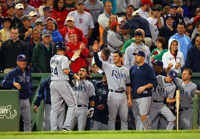 The most unlikely hit of the Rays' unlikely season. With the Rays just three outs from falling out of first place for the first time June 28, Dan Johnson hit a pinch-hit, game-tying homer off Red Sox closer Jonathan Papelbon on Sept. 9. Tampa Bay scored again in the ninth to beat Boston 5-4. Even more amazing? It was Johnson's first at-bat in a Rays uniform -- he called up from Class AAA Durham earlier in the day, but didn't make it to Fenway Park in time to be in the starting lineup.
