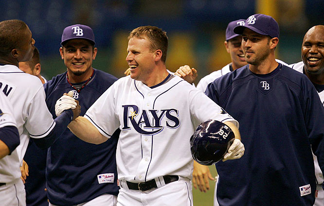 "The first moment the Rays truly felt they belonged? Perhaps it was this 11-inning 2-1 victory over the Yankees. Gabe Gross singled off closer Mariano Rivera to win it, plating Jonny Gomes and setting off a wild celebration at Tropicana Field. ""We're winning close games against good teams,"" closer Troy Percival said at the time. ""The way we're fighting, you can see it's not a fluke."""