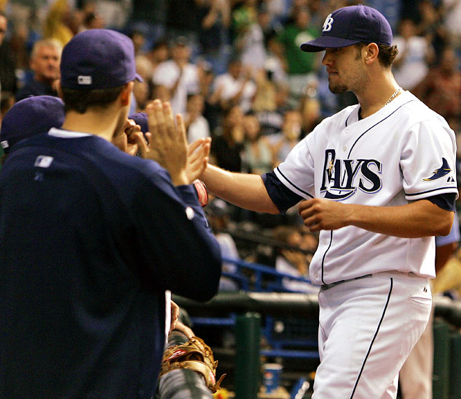 Most dominant pitching outing in Rays history? It could be this one. James Shields limited the Angels to just one hit -- a third-inning Brandon Wood single -- in a 2-0 victory on May 9. Longoria won it with his first career walk-off homer, a two-run blast off Justin Speier. Shields' performance was just the franchise's second complete-game, one-hit shutout.