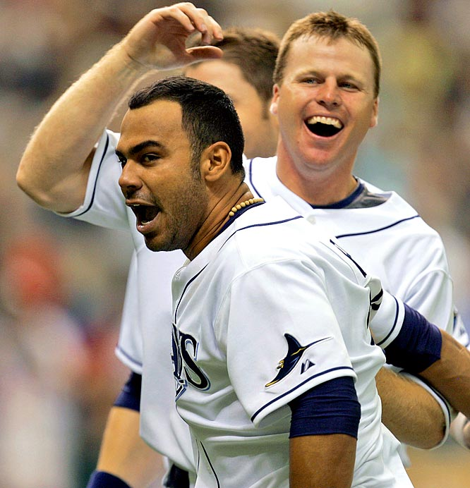 The Rays specialized in walk-off victories in '08 -- they have 12 entering the World Series -- but none was more stunning than the six-run, ninth-inning rally to beat Cleveland 10-7 on Aug. 6. The Rays, who trailed 7-4 entering the bottom of the ninth, got a score-tying homer from Gabe Gross, then a three-run walk-off bomb by Carlos Pena to win it.