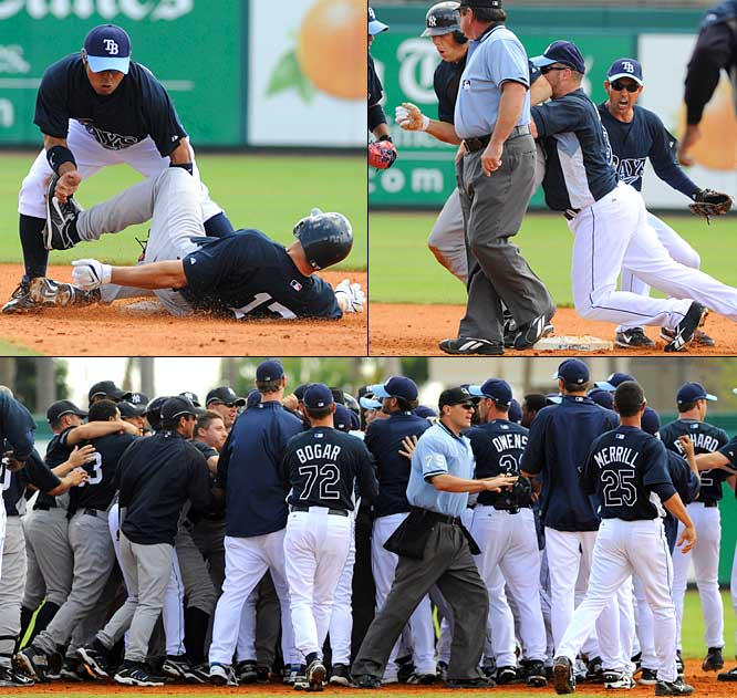 Perhaps the tone of the Rays' magical season was set in spring training, when minor leaguer Elliot Johnson barreled over Yankees catcher Francisco Cervelli in the ninth inning on March 10. The message was sent: These Rays played hard. They played to win. And they weren't going to be pushovers. Two days later, the Yankees and Rays would brawl after Shelly Duncan spiked Akinori Iwamura at second base.