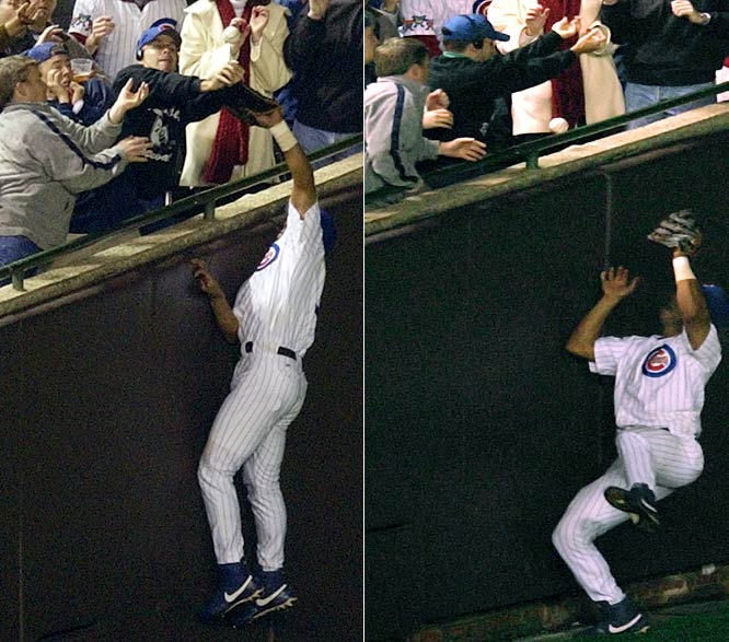 The Cubs were leading 3-0 in Game 6, and were five outs away from their first World Series since 1945 when Steve Bartman changed the series from his seat along the left field line. Aided by Bartman's exuberance, the Marlins went on to score eight runs in the inning, and carried the momentum to a Game 7 win.