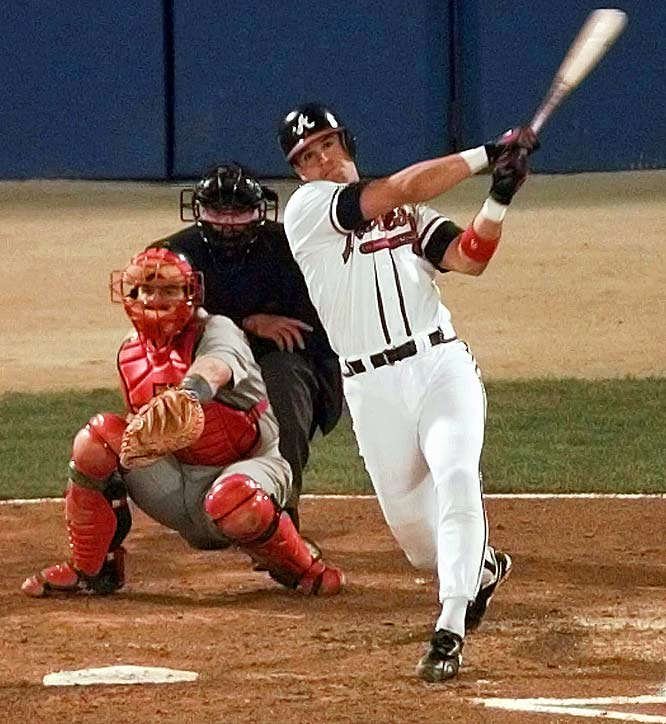 Atlanta's bats came alive in the final three games of the 1996 NLCS, as the Braves scored 32 runs on 46 hits to dig their way out of a 3-1 hole. The assault was led by series MVP Javy Lopez (pictured) and a 19-year old rookie, Andruw Jones.