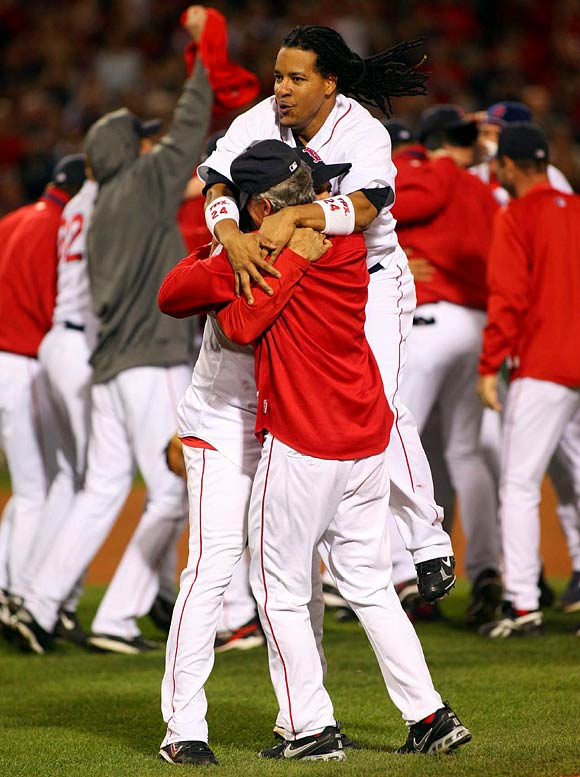 After being shut down by Jake Westbrook and Paul Byrd in Games 3 and 4, the Red Sox hammered Indians' aces C.C. Sabathia and Fausto Carmona the next two games to even the series at three. Game 7 at Fenway was close until Boston exploded for six runs in the seventh inning, sealing another trip to the World Series.