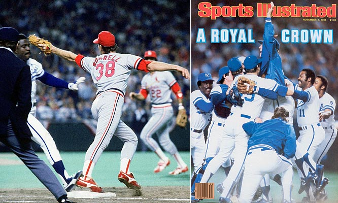 Once again, the Royals fell behind 3-1, and trailed by a run entering the bottom of the ninth of Game 6. But a blown call by first base umpire Don Denkinger allowed Jorge Orta to reach base, igniting a game-winning rally that was capped by Dane Iorg's walk-off, two-run single. Kansas City's Bret Saberhagen built on the momentum the next day, leading his club to an 11-0 win.