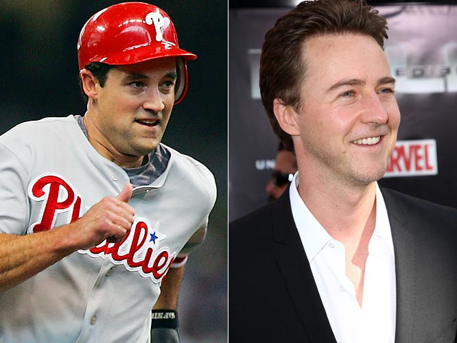 Phillies left fielder Pat ''the bat'' Burrell hit 33 homers and drove in 86 runs this season, hitting behind Ryan Howard in Philadelphia's powerful lineup.<br><br>Academy Award-nominee Ed Norton has starred as the Incredible Hulk and earned an MTV Movie Award nomination for Best Fight for his performance in Fight Club.