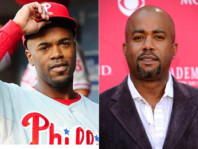 With the Rays and Phillies taking center stage in the World Series, here are some notable players to watch for alongside some more familiar faces from the entertainment industry they resemble......more or less.<br><br>The 2007 NL MVP, Jimmy Rollins hits for power, and has stolen at least 20 bases every year since 2001. Rollins famously called the Phillies the ''team to beat'' ahead of the 2007 season, before leading them to their first division title since 1993.<br><br>The lead singer of Hootie and the Blowfish, Darius Rucker has also found solo success recently, recording the Number One country hit, ''Don't Think I Don't Think About It.''