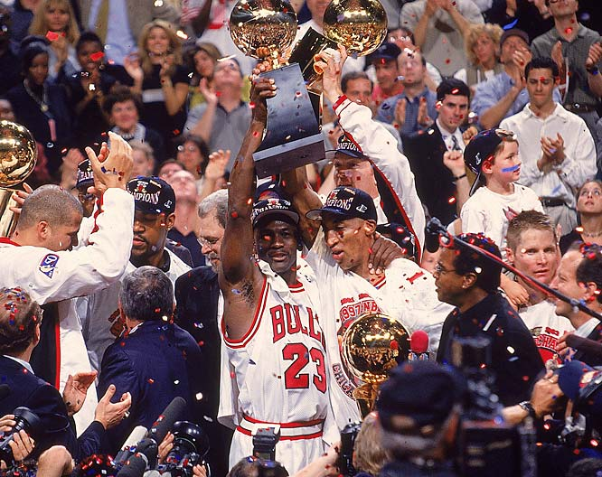 Though they couldn't match their record-setting 72 wins of a year earlier, the Bulls still won 69 en route to their second of three straight championships.<br><br>Send comments to siwriters@simail.com